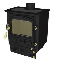 Bubble 4b Multi Fuel Stove Small Boiler In Matt Black