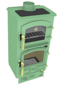 Bubble 4b Oven Stove Multi Fuel Small Boiler Light Green