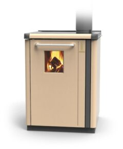 Thermorossi Bosky 30 Boiler In Beige With Vitrified Boiler Multifuel
