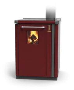 Thermorossi Bosky 30 Boiler In Red With Vitrified Boiler Multifuel
