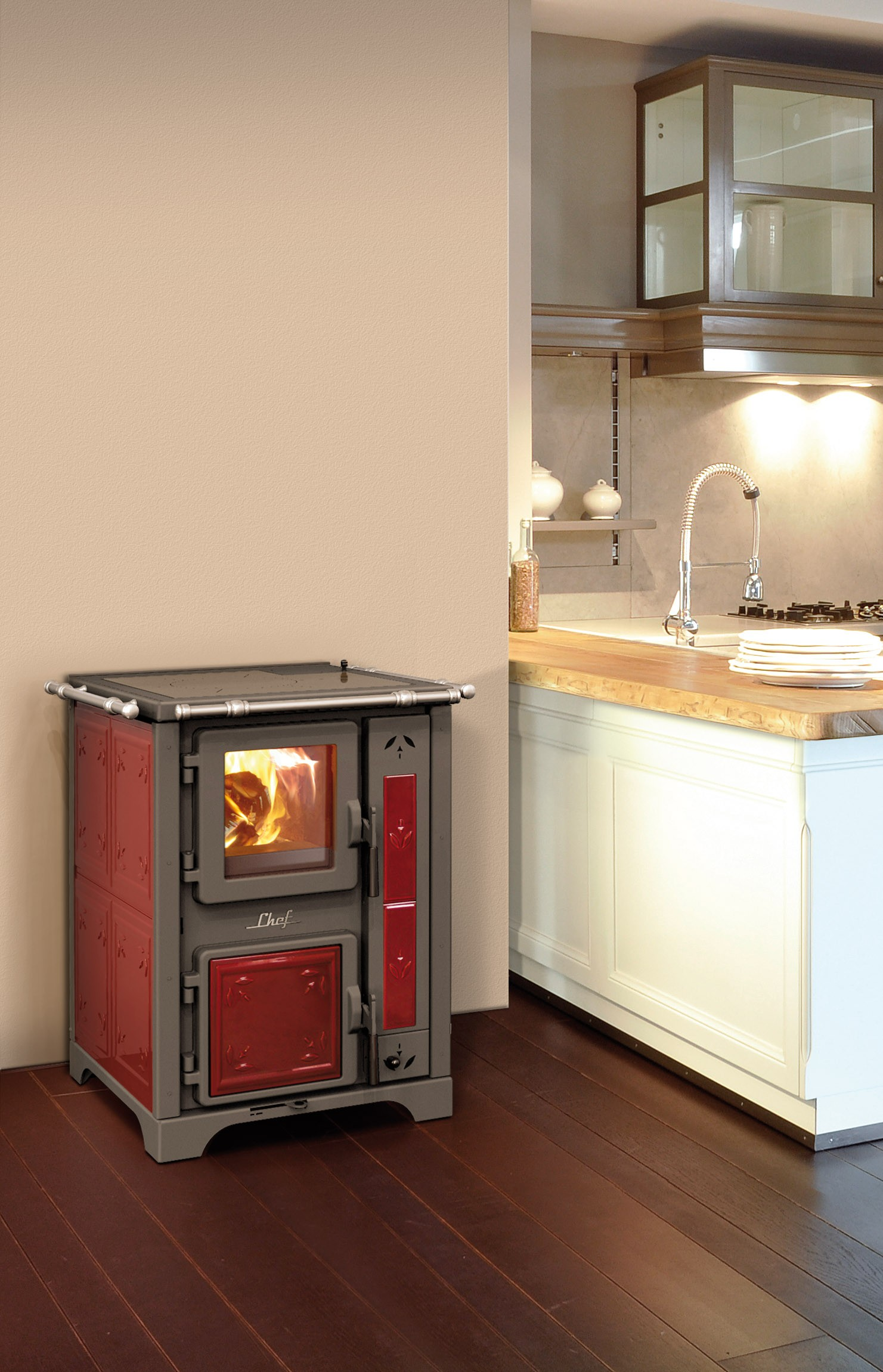thermorossi bosky chef fiori wood stove only in red