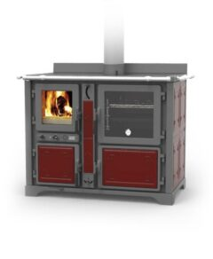 Thermorossi Bosky F30 Country Cooker Vitrified In Fiori Red Multifuel