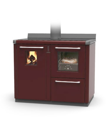 Thermorossi Bosky F30 Cooker In Red With Vitrified Boiler Multifuel