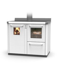 Thermorossi Bosky F30 Cooker In White With Vitrified Boiler Multifuel