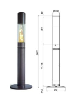 POB FARO 2.0 OUTDOOR FIRE PATIO HEATER WOOD PELLETS