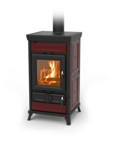 Thermorossi Llaria Maiolica Bordeaux (red) Wood Stove