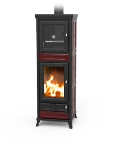 Thermorossi Anna Maiolica Bordeaux (red) Wood Stove With Oven
