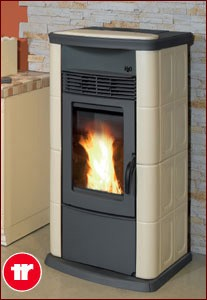 Thermorossi Ecotherm H2o18 Pellet Stove In Ceramic Beige