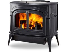 VERMONT ENCORE TWO-IN-ONE WOOD STOVE IN CLASSIC BLACK PLAIN DOORS
