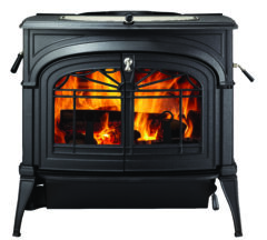 VERMONT ENCORE TWO-IN-ONE WOOD STOVE IN CLASSIC BLACK LATTICE DOORS