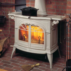 VERMONT DEFIANT TWO IN ONE WOOD STOVE IN BISCUIT ENAMEL 0001976-I