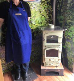Bubble Royal Blue Cotton Cooking Apron 94cm Long