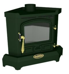 Bubble Corner 4kw No Boiler Solid Fueluel Stove Green