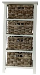 Glenweave Four Basket Tower Draws With Solid White Frame In Grey & White