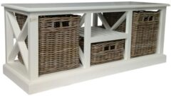 Glenweave Bench With Three Baskets Draws And Solid White Frame In Grey & White