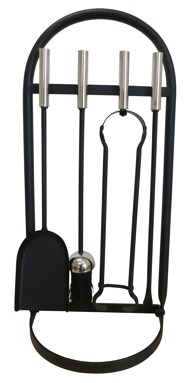 Glenweave Box Of 4 Black & Nickel Companion Set