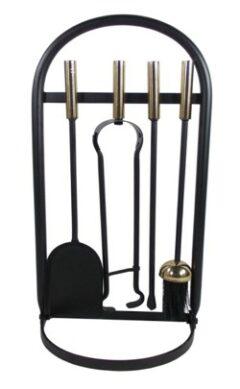 Glenweave Box Of 4 Black & Brass Companion Set