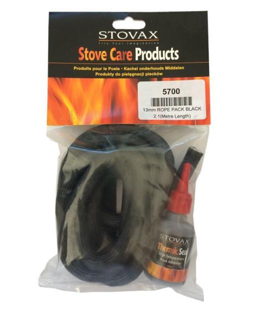 Stovax rope seal pack 13mm x 2m soft black harworth heating for 14mm stove door rope